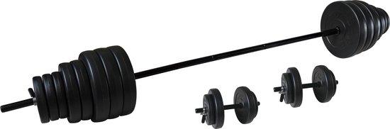Tunturi Vinyl Halterset - Dumbellset - 50kg - 1x Halterstang + 2x Dumbbellstangen + Gewichten en sluitingen