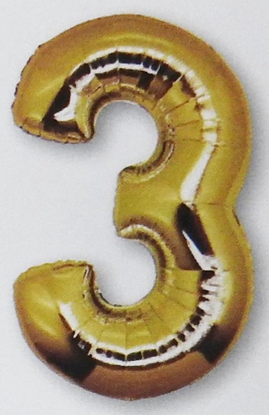folie ballon cijfer 3, goud 92 cm
