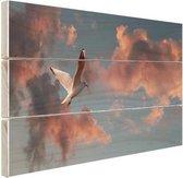Meeuw bij zonsondergang Hout 120x80 cm - Foto print op Hout (Wanddecoratie)