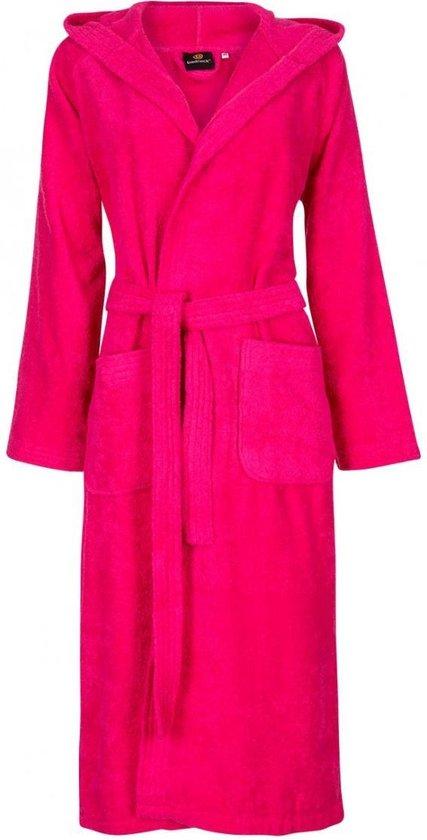 Dames badjas fuchsia roze - badstof katoen - sauna badjas capuchon - maat S/M - Badrock
