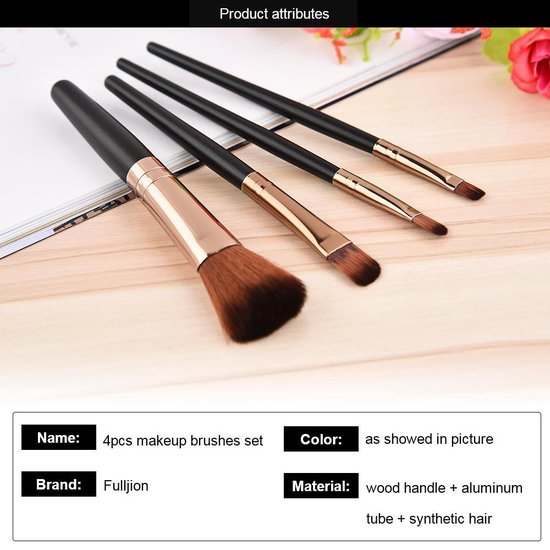 4 delige professionele Make- Up kwasten set - Merkloos