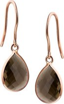 The Jewelry Collection Oorhangers Rookkwarts - Ros�goud