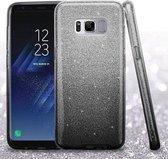 Samsung Galaxy S8 Plus Hoesje - Glitter Backcover - Zwart & Zilver