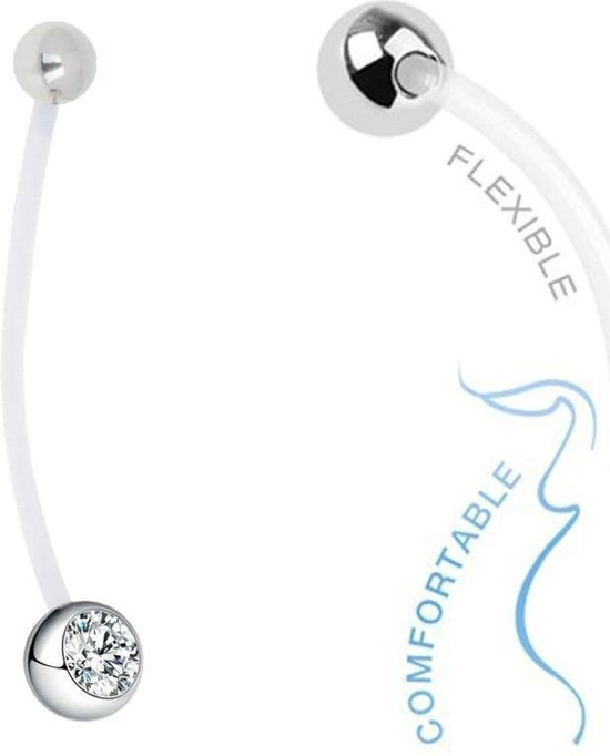 Fako Bijoux® - Zwangerschapspiercing - Kristal - Wit - Fako Bijoux®