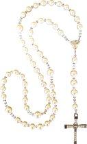 Rozenkrans van Swarovski parels ( 8 mm ) en Swarovski kralen ( 4 mm )