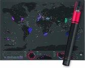 Wereldkaart Kras Luxe Editie | Capital edition / Hoofdsteden editie | World Scratch Map Deluxe Version |Kraskaart Scratchmap | Wereldkraskaart Groot Poster 82,5 x 59,5 cm Zwart / Black Edition | Gadgetartikel Cadeauartikel