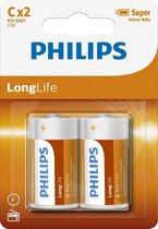 Philips R14L2B - C batterij - 2 stuks