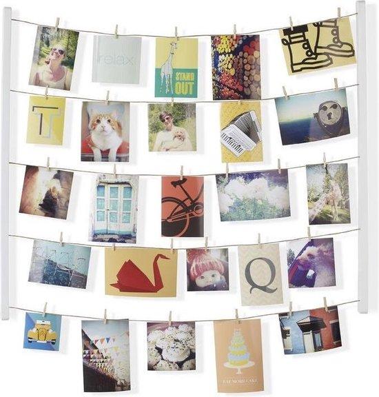 Umbra foto display met 40 knijpers Hangit hout - Kleur - Wit
