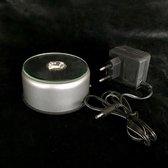 Lichtplateau-LED-Licht draaiplateau met gekleurd licht op batterij en op adapter 9x9x4.5cm