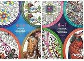 Kleurboek Volwassen 4 in 1 - activiteitenboek - kleuren op nummer