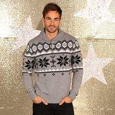 Kerst kleding - Foute grijze heren trui met sjaalkraag Maat M