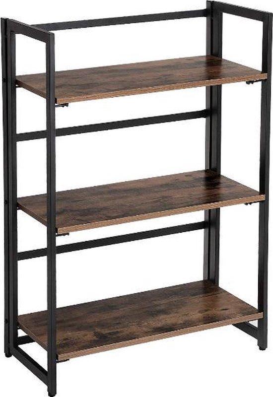 Boekenkast | Boekenplank |3 Planken | Opbergrek | Vintage | Industrieel | Metaal | Hout | Stevig | Stabiel | Nieuw | Kantoor | Thuis