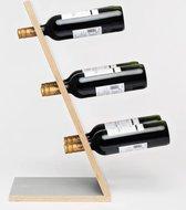Compact Six Grey Wijnrek - Klein staand flessenrek van hout voor 6 wijnflessen met een uniek en modern design
