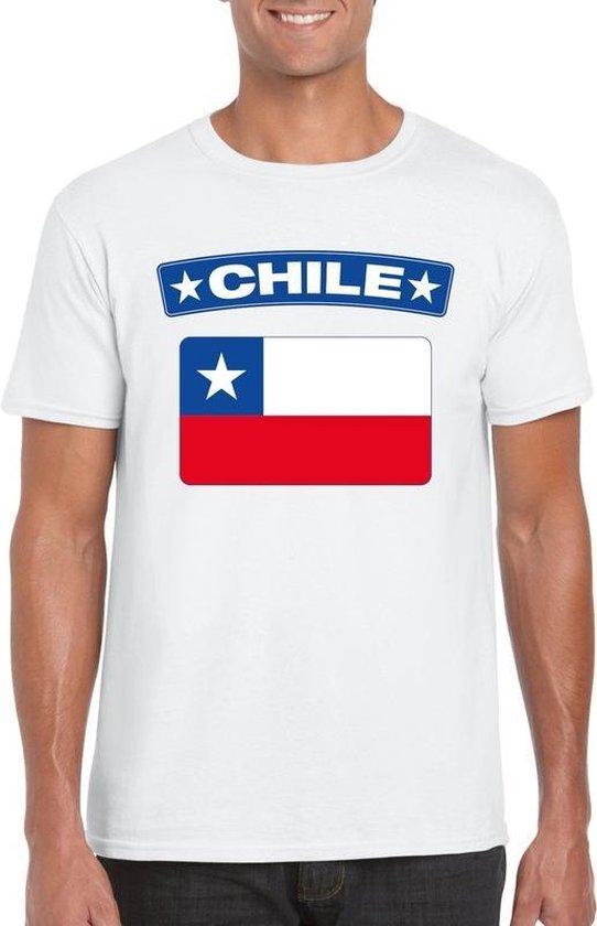 Chili t-shirt met Chileense vlag wit heren 2XL