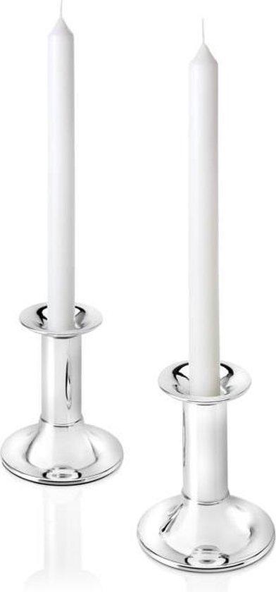 Zilverstad Tube Kandelaar - Laag - 2 stuks (11 cm)