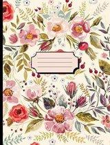 Pretty Watercolor Flowers Cream Notebook