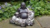 Lucky Boeddha - Beeld - Polystone - Zwart/Zilver - 18 cm