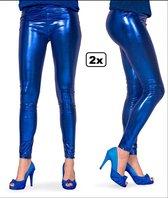 2x Legging - Metallic Blauw - Maat S/M