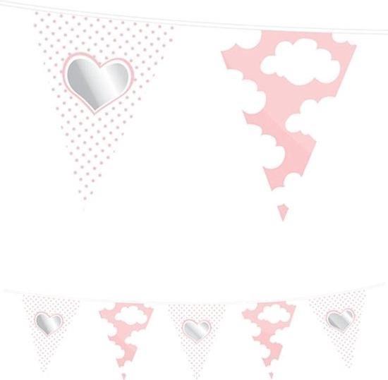 Vlaggenlijn hartje geboorte meisje 10 meter