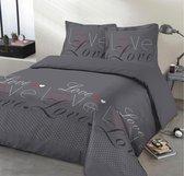 VISION Home Dekbedovertrek Love - 240x220cm - 100% Katoen - Antraciet