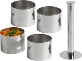 Cosy & Trendy Garneercirkelset - Rond - 4 stuks met voedselstamper - 7 cm