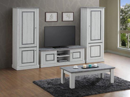 TV-wand ENAL bestaande uit Tv-meubel  met 2 x kolom volle deur
