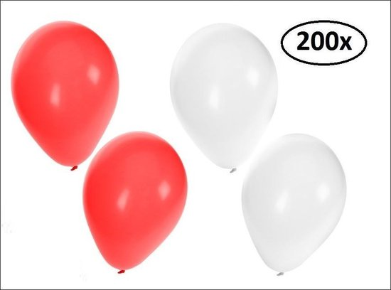 200x Ballonnen rood en wit - Ballon carnaval festival feest party verjaardag landen helium lucht thema