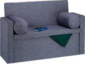 relaxdays zitbank met leuning - 2 kussens - zitkist opvouwbaar - gepolsterd - opbergruimte donkergrijs