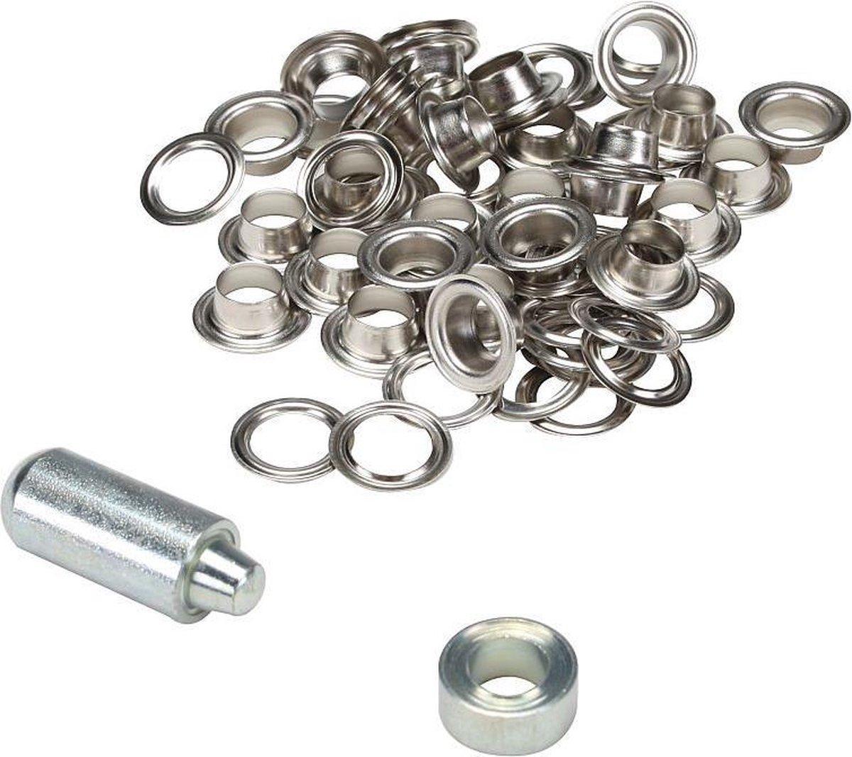 ESVO   10 mm zeilringen - 25 ringen - messing vernikkeld - 1 stempel