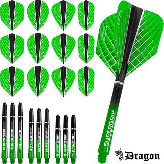 Dragon Darts – Harrows - Combi kit – Quantum-X – 3 sets darts shafts – 4 sets darts flights - Groen