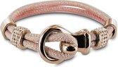 Silventi 980101446 Leren armband - met stalen elementen - Roze en Rosekleurig