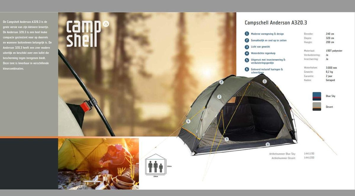 CampShell Anderson A320 3 Persoons Tent Blauw kopen