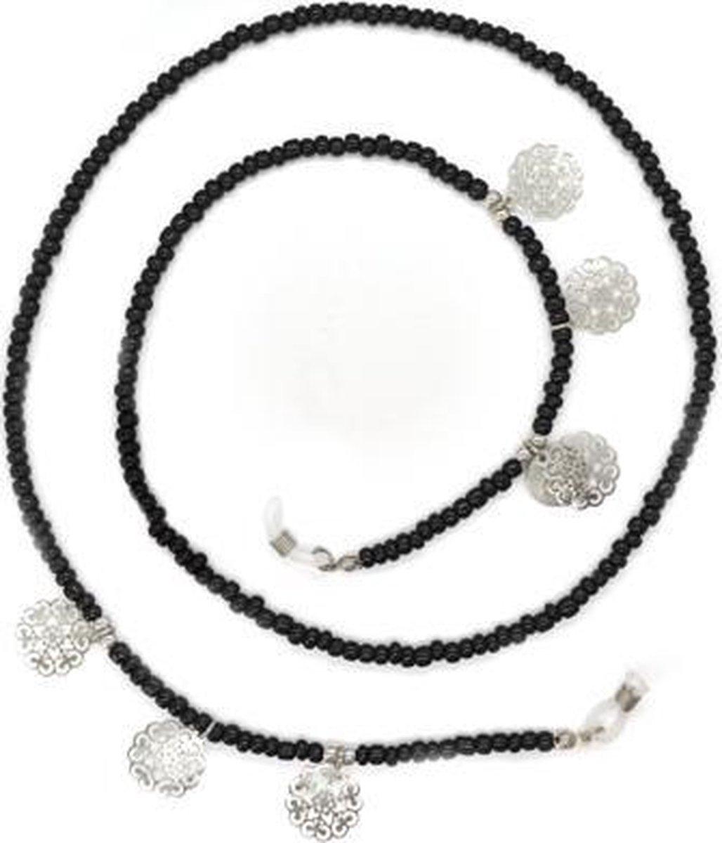 Zonnebrilkoordje kraaltjes zomer - zwart en zilverkleurig - BandjesenKantjes