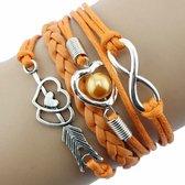 Fako Bijoux® - Multi Armband - Infinity Hart Cupido - Oranje
