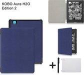 AA Commerce - PU Leren Slimfit Sleepcover voor Kobo Aura H2O Edition 2 - Donker Blauw