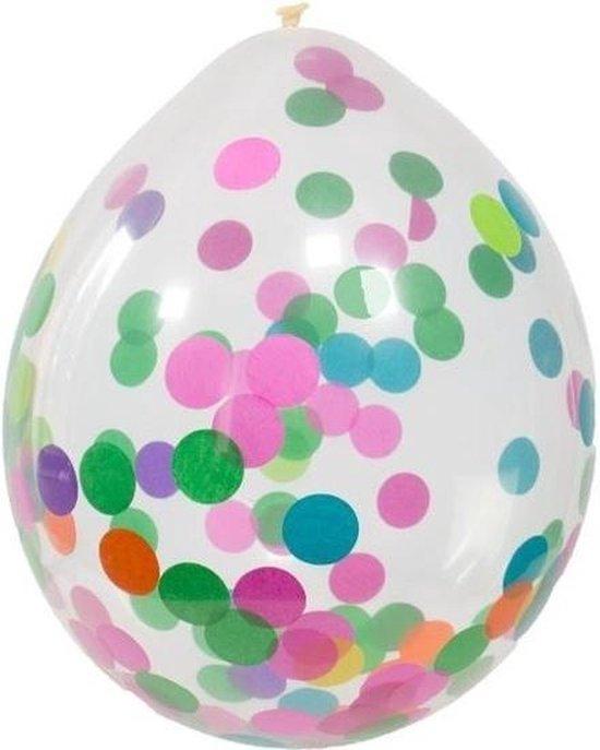 4x Transparante ballonnen gekleurde confetti 30 cm - verjaardag ballonnen versieringen