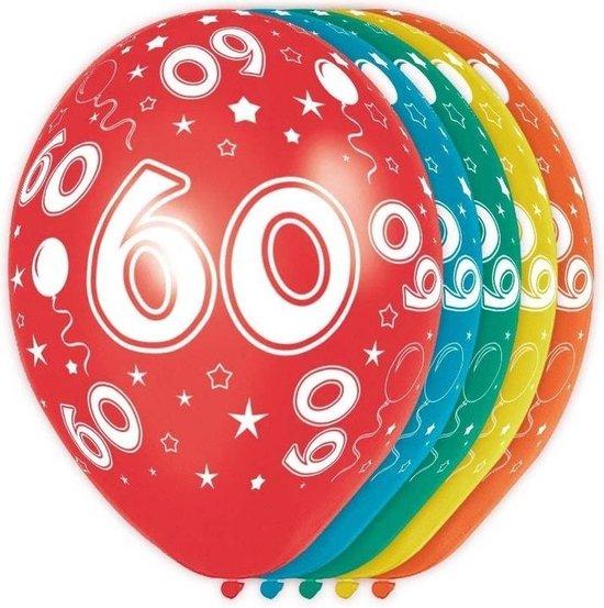 5x stuks 60 Jaar thema versiering helium ballonnen 30 cm - Leeftijd feestartikelen en versieringen