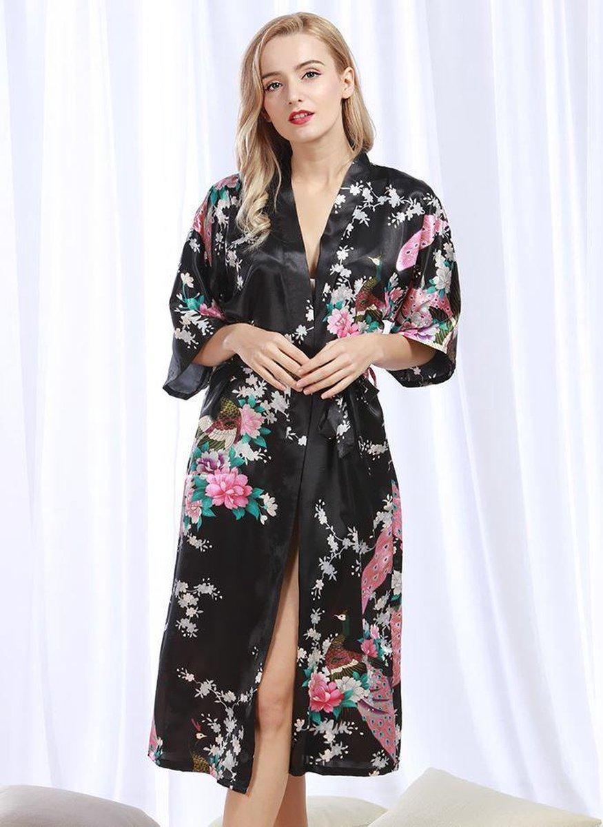 Chinese Kimono badjas ochtendjas zwart satijn dames maat M