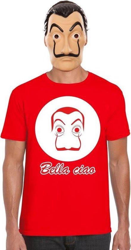 Rood Salvador Dali t-shirt maat XL - met La Casa de Papel masker voor heren - kostuum