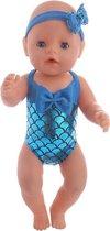 Blauw Zeemeermin badpak geschikt voor poppen met een lengte van 40-45 cm zoals Baby Born
