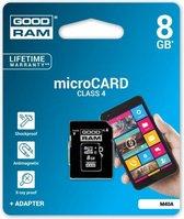 Micro SDHC-kaart 8GB Klasse 4 met SD adapter
