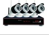 Beveiligingscamera set draadloos,  4 Camera's + NVR 1080p Full Hd PLUG & PLAY