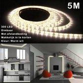 5M Ledstrip - Warm wit - Dimbaar - 300 LED - Met Adapter