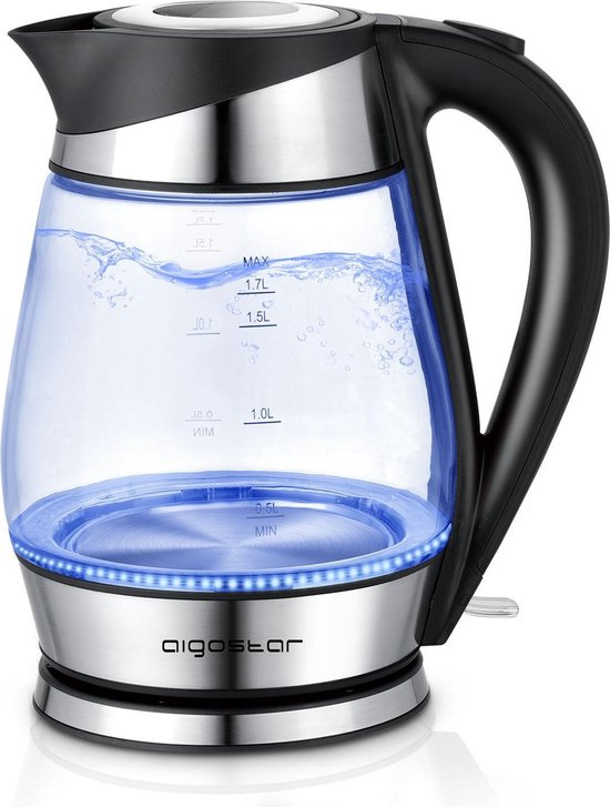 Aigostar Chubby 30LCZ -  Glazen Waterkoker met LED - RVS - Zwart