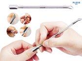 Nagel Bokkepoot Bokkenpootje - Nagelriem Bokkepootje Achteruitduwer voor Pedicure - Cuticle Pusher Verzorging Nagelriemen - Reinigen van de Nagels / Kunstnagels - 2 in 1 RVS metalen nail tool - Pless®