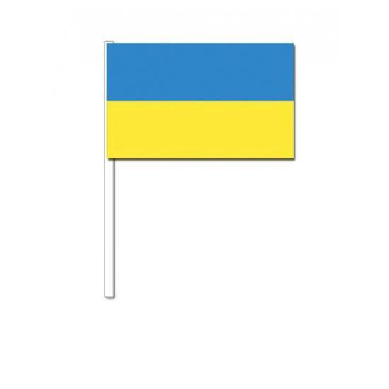 50 Oekrainsche zwaaivlaggetjes 12 x 24 cm