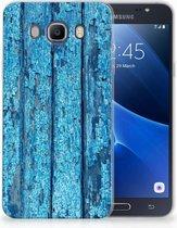 Samsung Galaxy J7 2016 Uniek TPU Hoesje Wood Blue