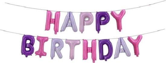 Folieballon Slinger Happy birthday Roze/Paars/Lila