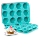 12-Muffinbakvorm - Lichtblauw - Siliconen - Bakvorm - Cupcake Bakvorm - Muffinvorm - Cupcake Vormpjes - Muffin - Cupcake - Non Stick - 12 Stuks