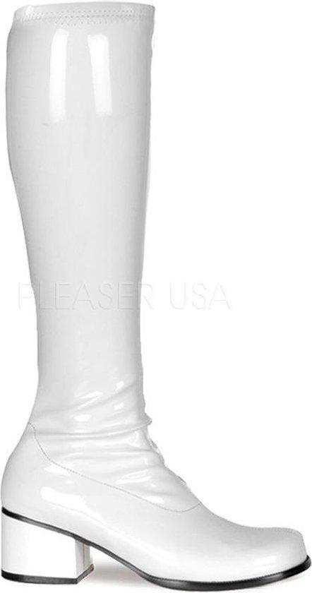 | witte laarzen disco met lage hak Maat:US14
